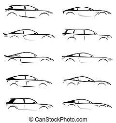 集合, ......的, 黑色, 黑色半面畫像, 概念, 汽車