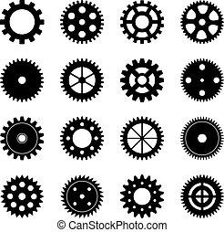 集合, ......的, 齒輪輪子, 矢量, 插圖