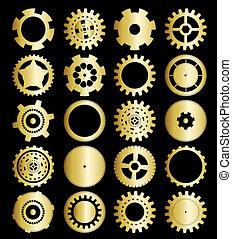集合, ......的, 齒輪輪子, 矢量