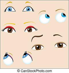 集合, ......的, 5, 卡通, eyes.