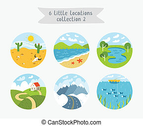集合, ......的, 6, 環繞, 位置, 很少, 風景, 海景, 以及, cloudscapes, 矢量, 插圖,...