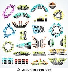 集合, ......的, cororful, 音樂, 調平器, 矢量, 設計元素