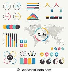集合, ......的, infographics, elements., 圖表, 圖表, 活動時間表, 演說泡, 餅形圖, map., 鮮艷, 集合, template.