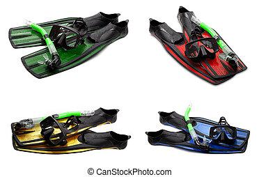 集合, ......的, multicolor, 游泳 飛翅, 面罩, 以及, 水下通气管, 為, 跳水, 在懷特上, 背景