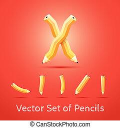 集合, ......的, pencils., 矢量, illustration.