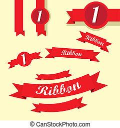 集合, ......的, retro, 紅色, 帶子, 以及, labels.