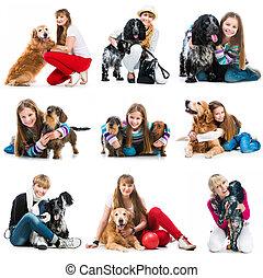 集合, 相片, ......的, 人們, 由于, 他們, 狗
