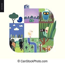 集合, 簡單, 事情, -, 森林, 背景, 白色, 作品