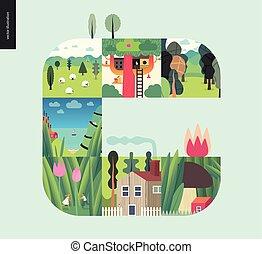 集合, 簡單, 事情, -, 森林, 背景, 薄荷, 作品