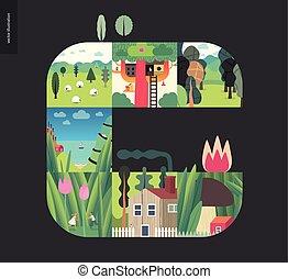 集合, 簡單, 事情, -, 黑色的森林, 背景, 作品