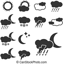 集合, 簽署, -, 符號, 矢量, 黑色, 天氣, 圖象