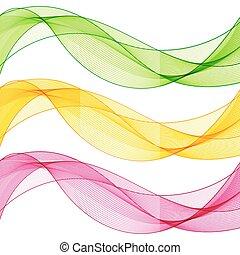 集合, 粉紅色, 摘要, 線, 被隔离, 黃色, 波浪, 背景。, 綠色, 白色