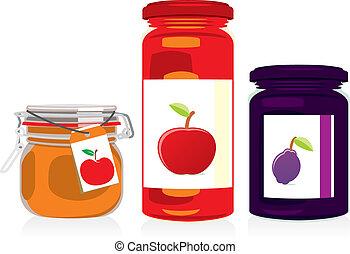 集合, 罐子, 果醬, 被隔离