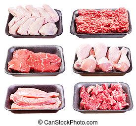 集合, 肉, 塑料, 未加工, 各種各樣, 托盤