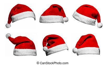 集合, 背景, 帽子, 克勞斯, 被隔离, 聖誕老人, 白色紅