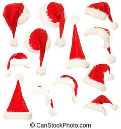 集合, 背景, 被隔离, 聖誕老人, 白帽子