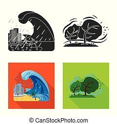集合, 自然災害, 符號, web., 插圖, 矢量, logo., 風險, 股票