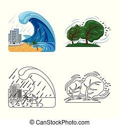 集合, 自然災害, 符號, web., 矢量, 設計, logo., 風險, 股票
