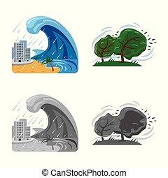 集合, 自然災害, 符號, web., 符號。, 矢量, 設計, 風險, 股票