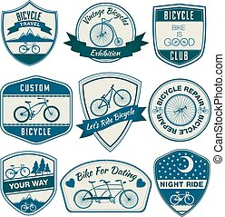 集合, 自行車, 葡萄酒, -, 矢量, 徽章