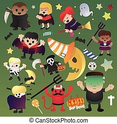 集合, 葡萄酒, 万圣節, 插圖, 矢量, 設計, 媽咪, 海報, 巫婆, 吸血鬼
