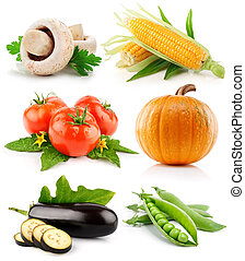 集合, 蔬菜, 水果, 被隔离, 在懷特上