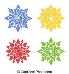 集合, 藍色, 摘要, 四, yellow., 黑色半面畫像, 綠色, 花, 紅色