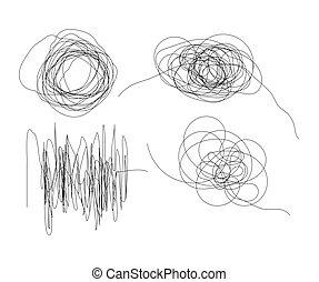 集合, 被隔离, 手, 形狀, 畫, 線, 雜文, 白色