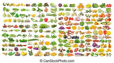 集合, 被隔离, 水果, 背景, 蔬菜, 白色