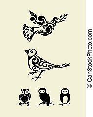 集合, 裝飾品, 鳥