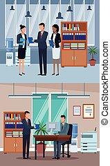 集合, 辦公室, 商業界人士