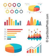 集合, 酒吧, 弄亂圖表, 圖, infographic