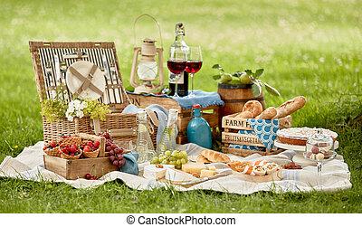 集合, 野餐食物, 毛毯, 綠色的草