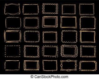 集合, 金, 手, 矢量, 框架, 畫
