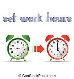 集合, 鐘, 工作, 二, 插圖, 小時