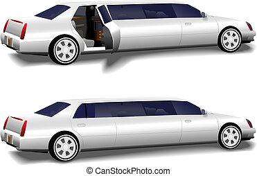 集合, 門, &, 轎車, 2, 大型高級轎車, 關閉, 白色, 打開