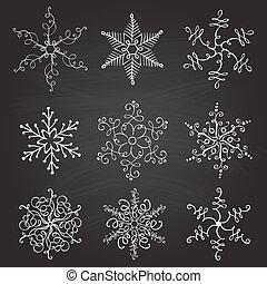 集合, 雪花, 葡萄酒, 手工造, 插圖, calligraphic, 背景。, 矢量, 九, 黑板, 繁榮, 聖誕節