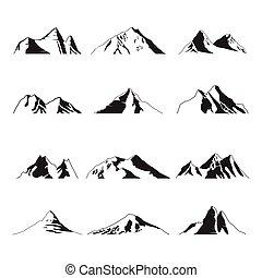 集合, 頂峰, 山, 插圖, 風景, 圖象, 黑色半面畫像