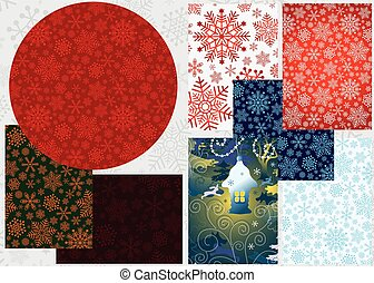集合, 鮮艷, 聖誕節, 旗幟