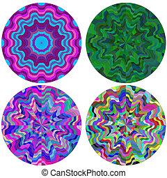 集合, 鮮艷, 輪, 圖樣