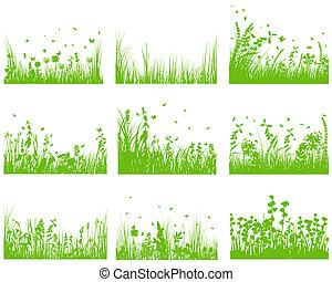 集合, 黑色半面畫像, 草地