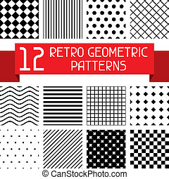 集合, 12, patterns., retro, 幾何學