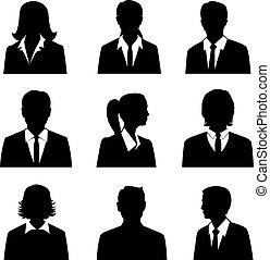 集合, avatars, 事務