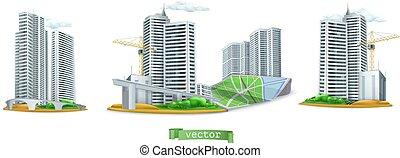 集合, city., 圖象, 矢量, 3d, 建筑物