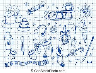 集合, doodles., 冬天
