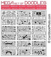 集合, doodles., mega
