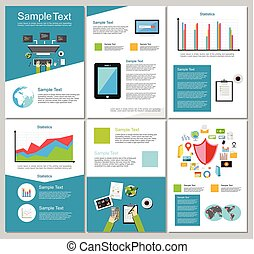 集合, elements., 事務, 或者, 背景。, infographic, 設計, 飛行物, 小冊子, 技術, template., templates.