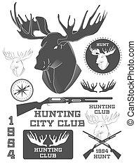 集合, elements., 葡萄酒, 鹿, 矢量, 設計, 在戶外, 標籤, 徽章