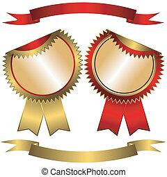 集合, golden-red, 標籤, 以及, 帶子, (vector)
