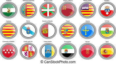 集合, icons., 社區, 自治, flags., 西班牙